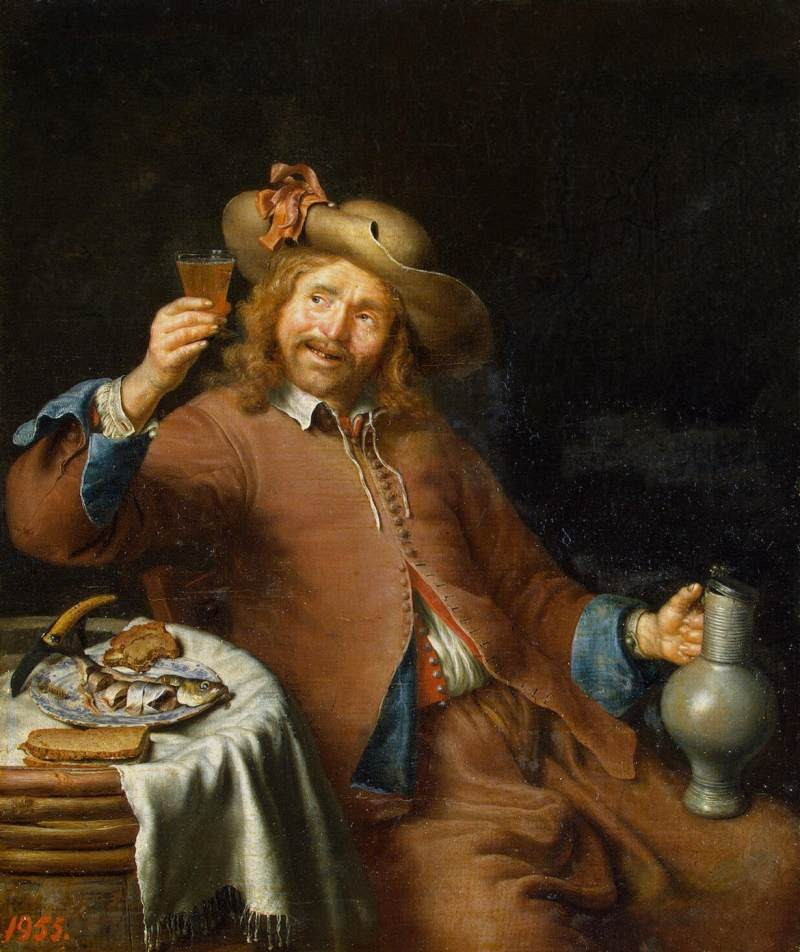 17th Century Breakfast of a young man by Slingelandt