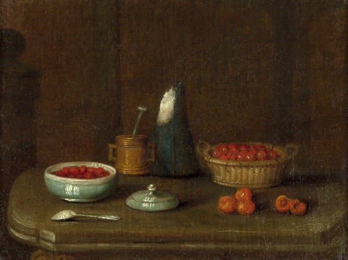 18th century still life with fruit and sugar loaf by unknown artist