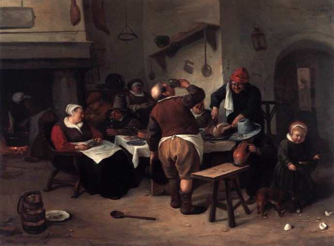 The Fat Kitchen by Jan Steen about 1668