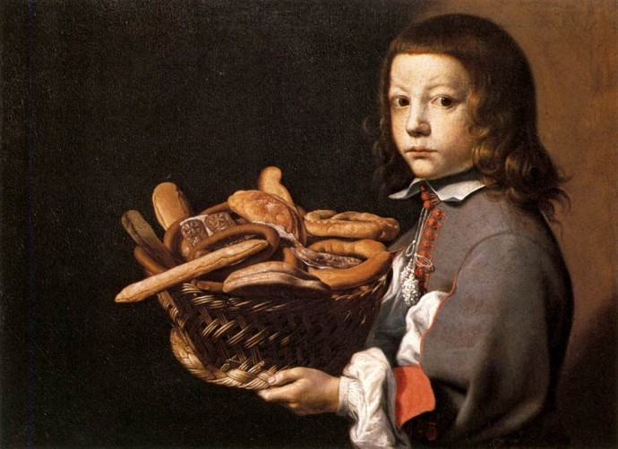 17th century painting of a boy with a basket of bread by BASCHENIS about 1665