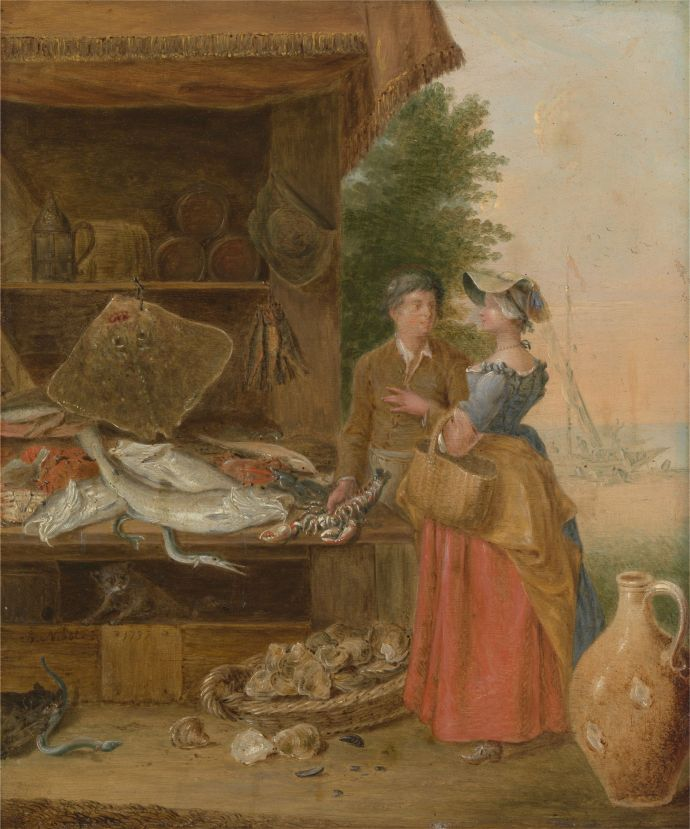 18th century painting of a fish mongers stall by Nebot from 1737