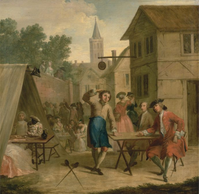 Danding Hob Selling Beer at the Wake - John Laguerre 18th century british painting