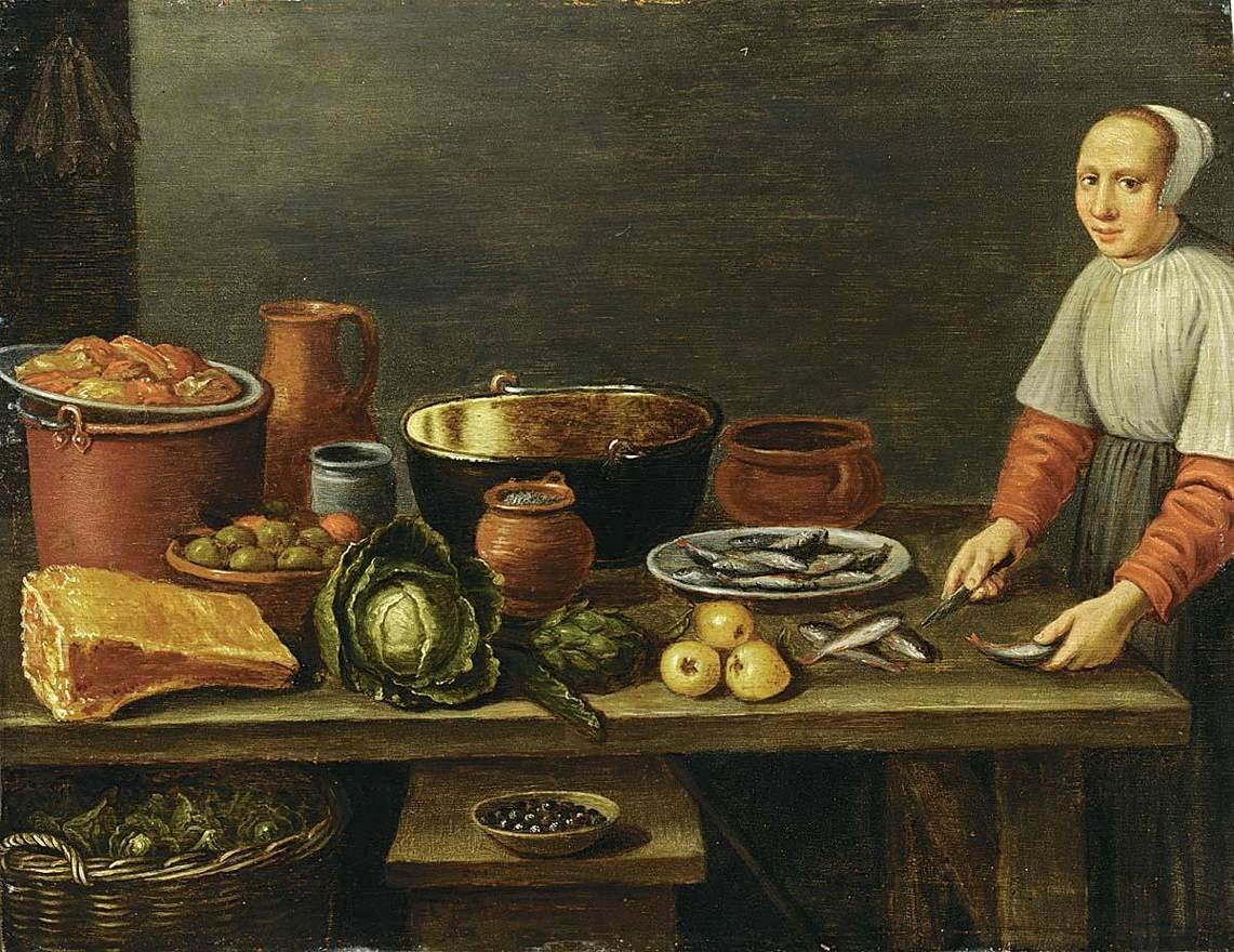 17th century Dutch kitchen scene by Schooten