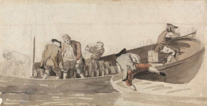 Men loading a ship's boat with barrels by scott. Mid 18th century naval watercolor