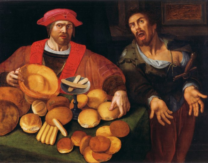 Rich and Poor - Bread and No Bread - 17th Century Flemish Painting