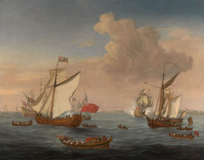 18th Century Nautical Painting showing several ships and ships boats in the Thames