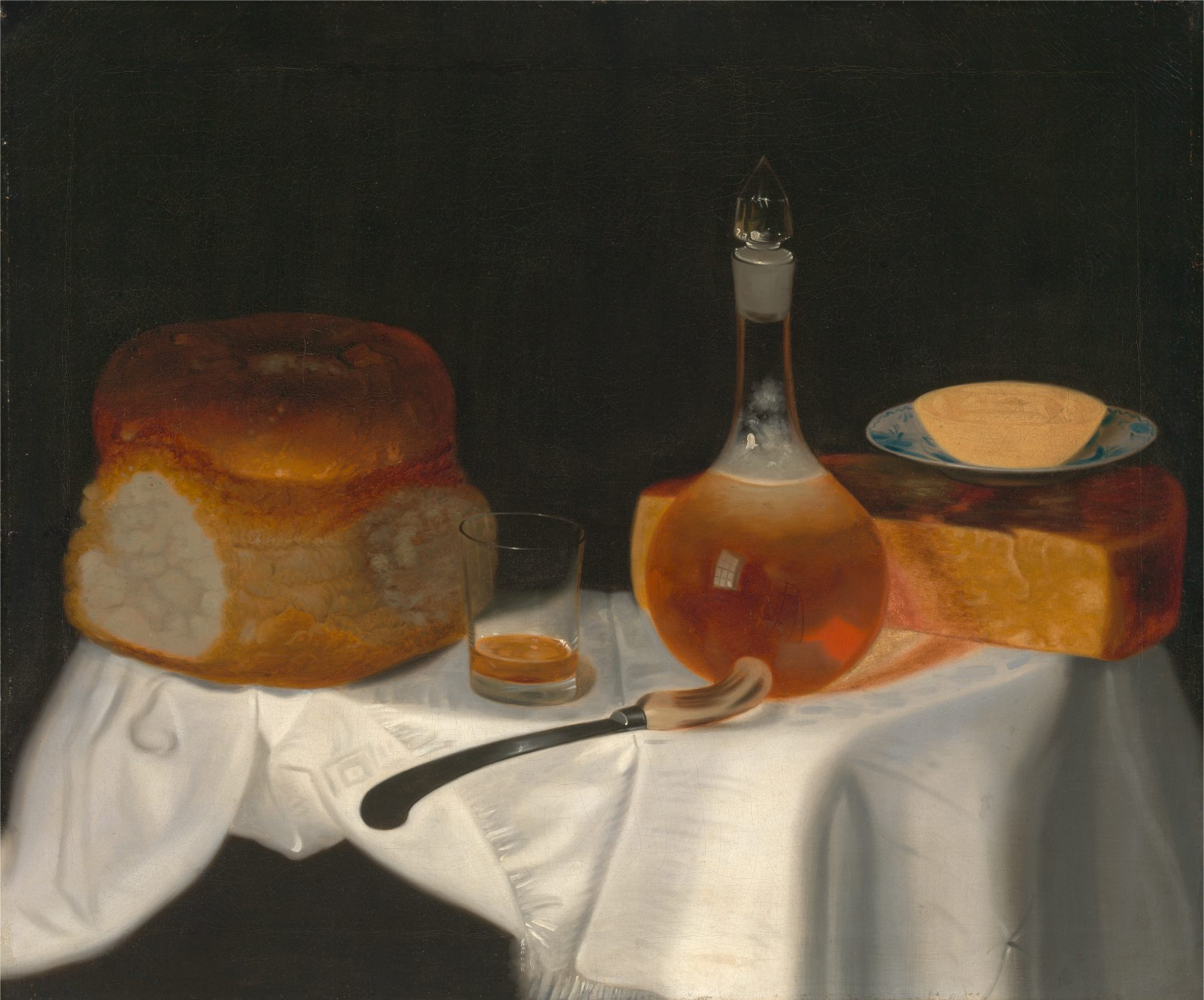 Still Life of Table setting by Smith 1754 with Bread Butter and Cheese