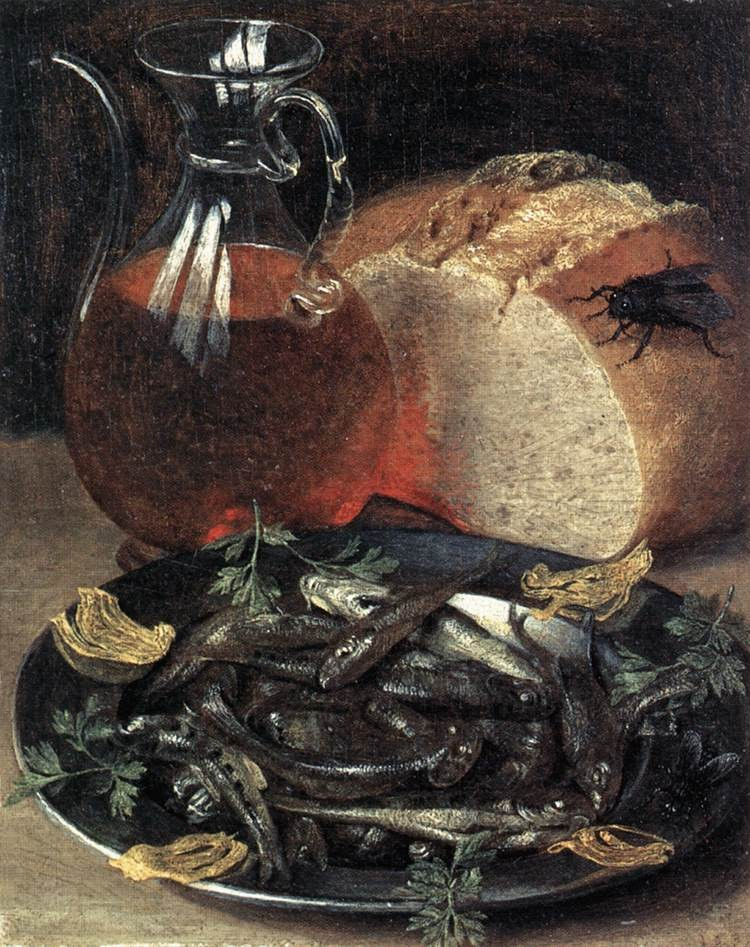 17th century painting with bread and fly - 1637