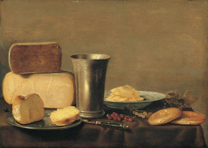 Schooten Still life with bread cheese beaker and biskets 17th century
