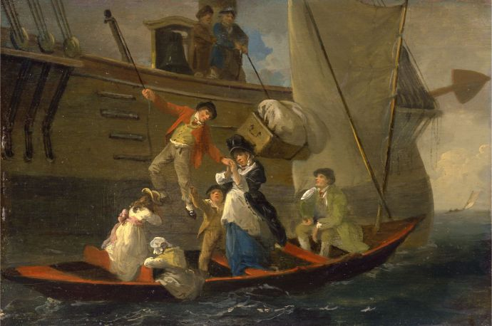 A sailor leaving his ship with his sea chest - Ibbetson about 1800