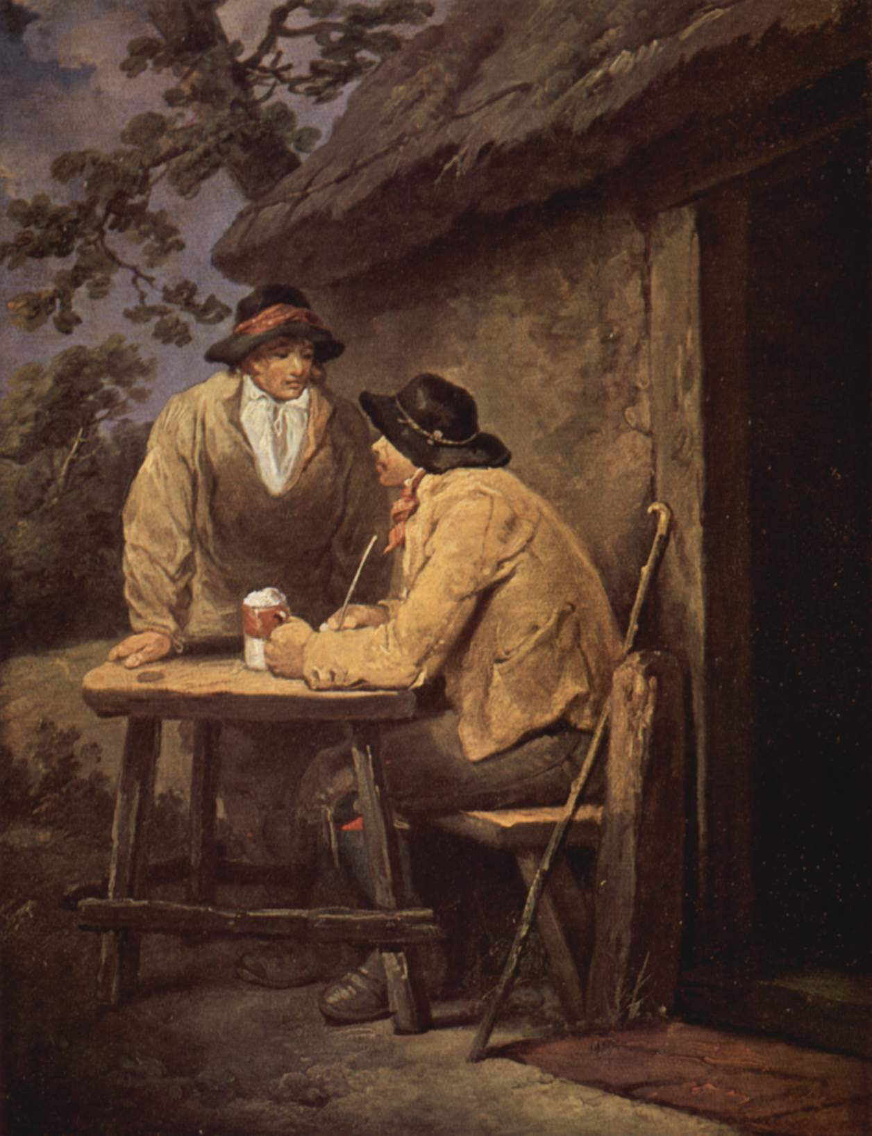 Two 18th century farmers in front of a tavern