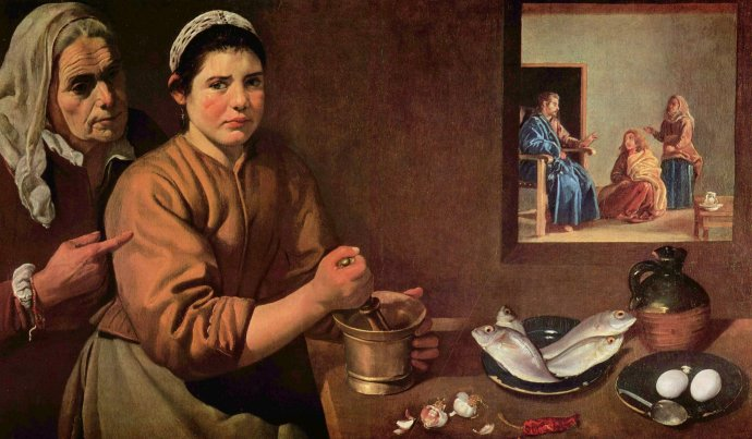 Girl In the Kitchen preparing food - Velazquez 1618