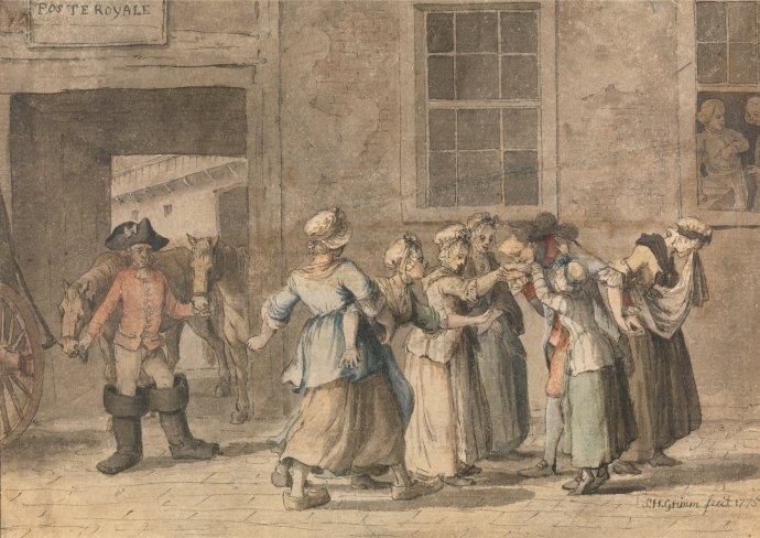 Caricature of a Departure from a French Inn - by Grimm dated 1775