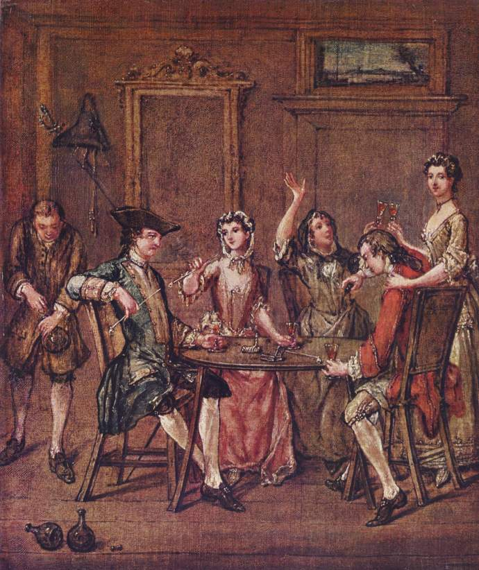 1750 interior by Laroon portraying a party