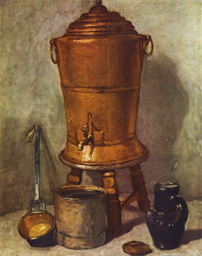 18th century still life with water cooler and dipper - Chardin 1734