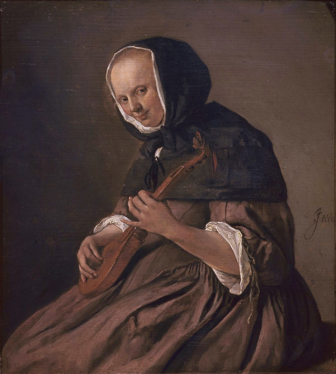 17th century Dutch Painting of an old woman playing a small stringed instrument