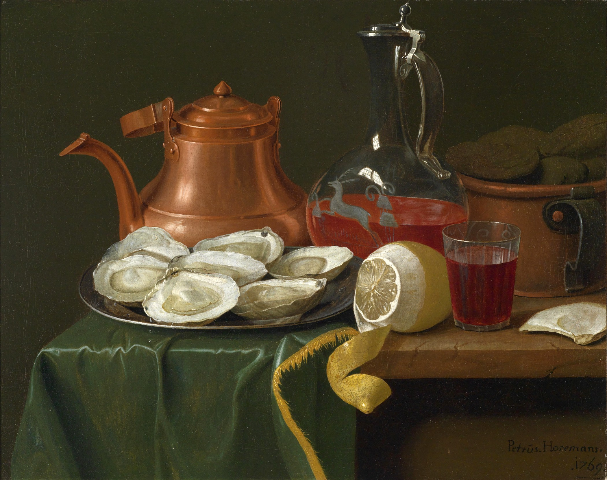Still Life With Oysters A Lemon Carafe Of Wine And Copper Jug