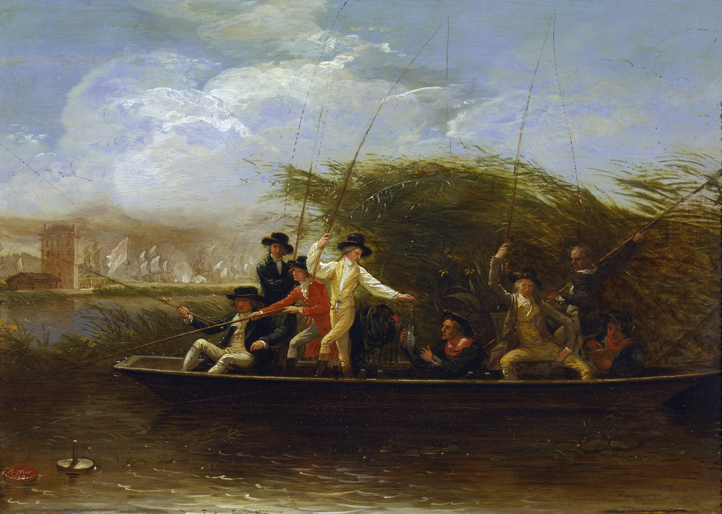 A party of gentlemen fishing from a punt benjamin west for Party boat fishing near me