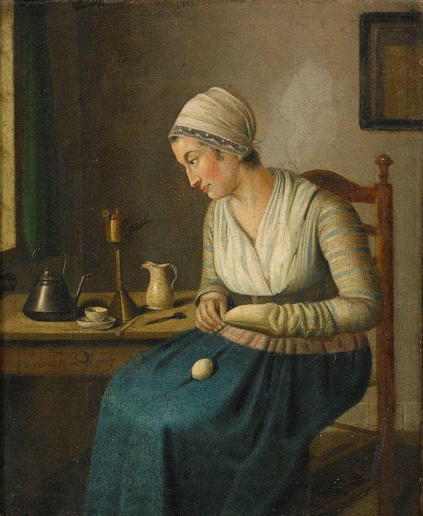 Woman Darning Socks by  Adrian de Lelie(Holland1755-1820)_1817