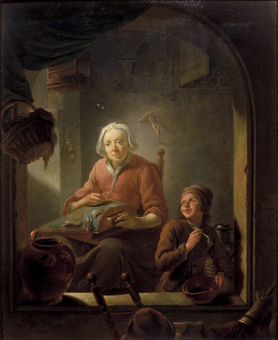 A Lacemaker with Boy Blowing Bubbles_Louis de Moni_1742