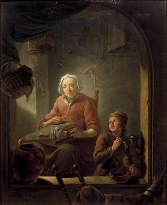 A Lacemaker with Boy Blowing Bubbles_Louis de Moni_1742