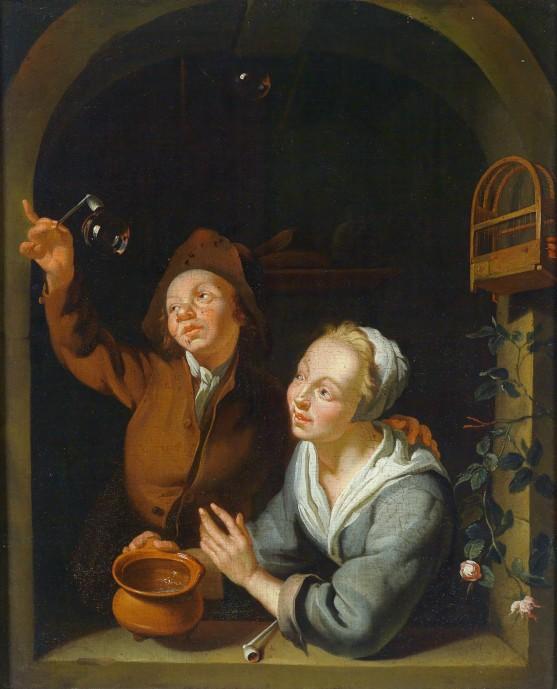 A Young Couple Making Soap Bubbles_Louis de Moni(1698-1771)_