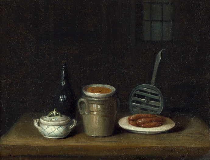 siftingthepast_still life with sausage and mustard pot_unknown_~18th century