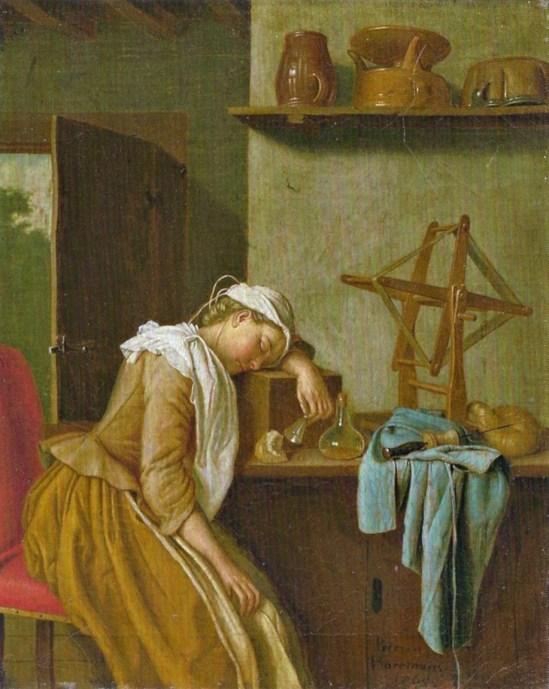 Sleeping kitchen maid_Peter Jakob Horemans_1765
