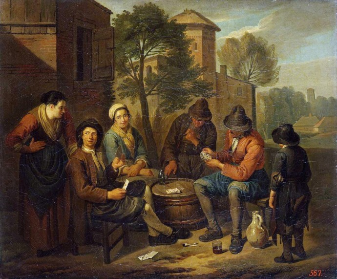 Peasants Playing Cards_Norbert vanBloemen(1670-1746)_18th century