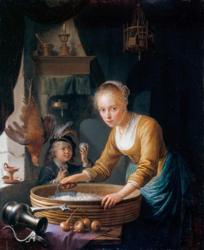 Girl Chopping Onions_Gerrit Dou (1613-1675)_1646