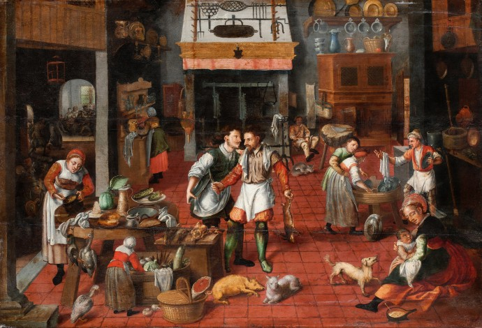 Kitchen Interior_ attributed to Marten van Cleve_~1565