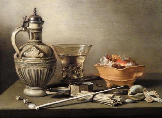 Still Life with Jug, Berkemeyer and Smoking Utensils_Pieter Claesz_17th century