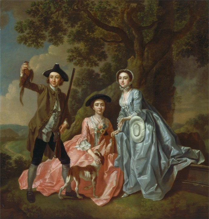 George Rogers and His Wife, Margaret, and His Sister, Margaret Rogers_Francis Hayman( 1708 - 1776 )_1750