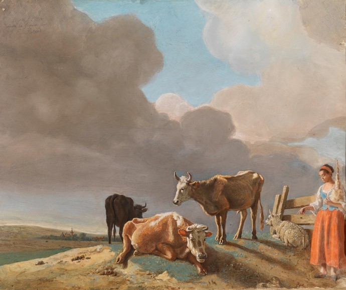 Landscape with cows, sheep and shepherdess_Jean-Étienne Liotard(1702-1789)_1761