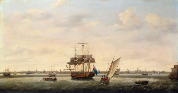 The Frigate Surprise at Anchor off Great Yarmouth Norfolk_Francis Holman(1760-1790)_1775