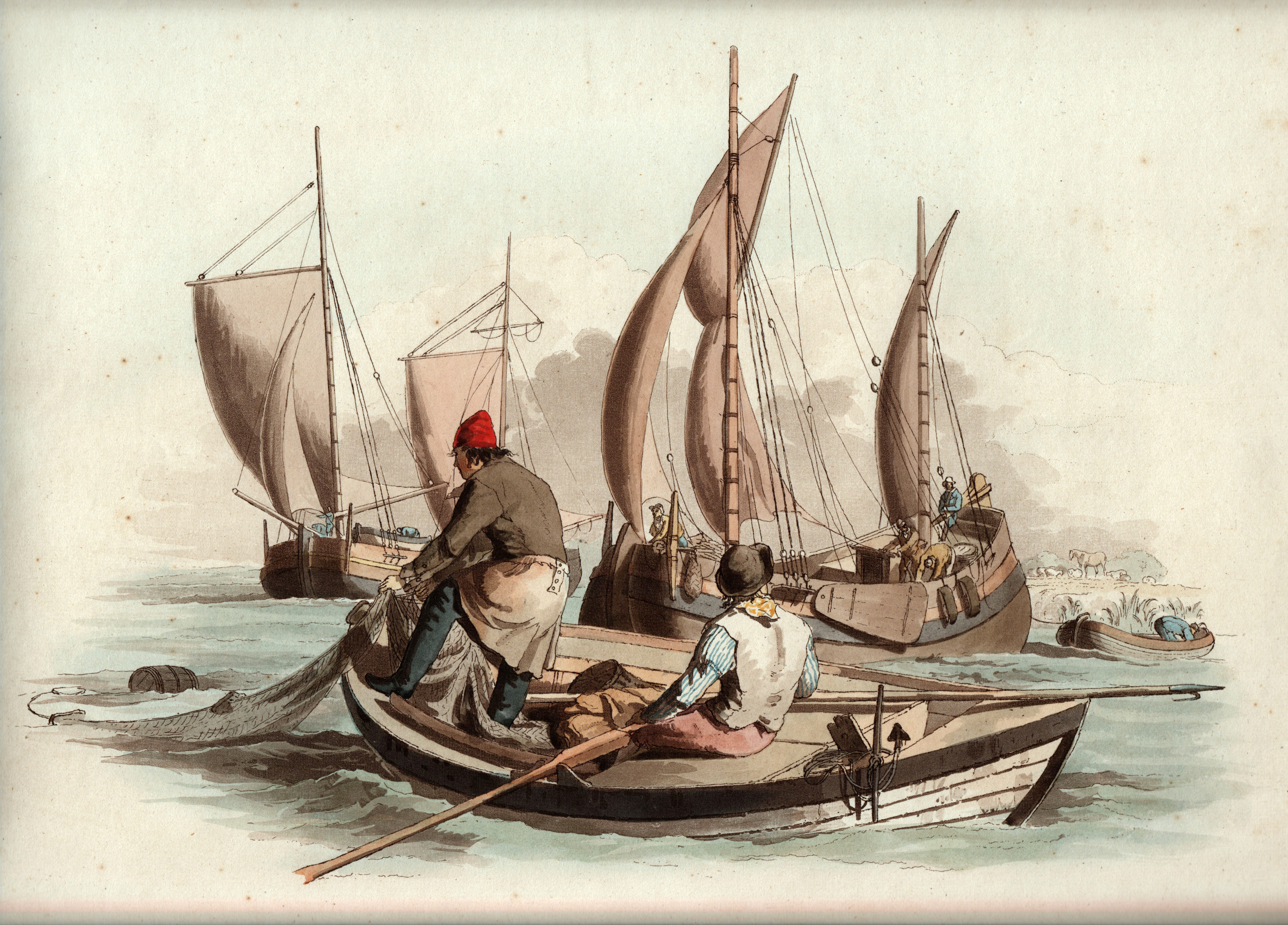 Fishermen By William Pyne 1804 The Townsends Blog