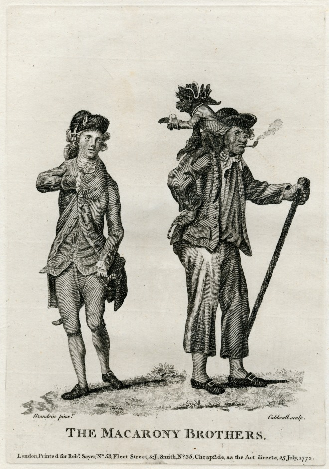 The Macarony Brothers by James Caldwall(1739-1789)after Michel Vincent Brandoin  1772