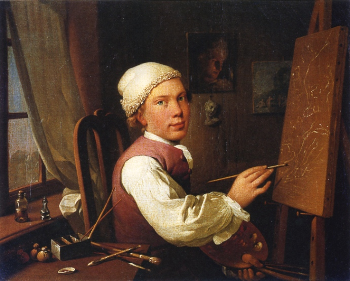 Selfportrait at the easel by Jens Juel(1745-1802)_1766