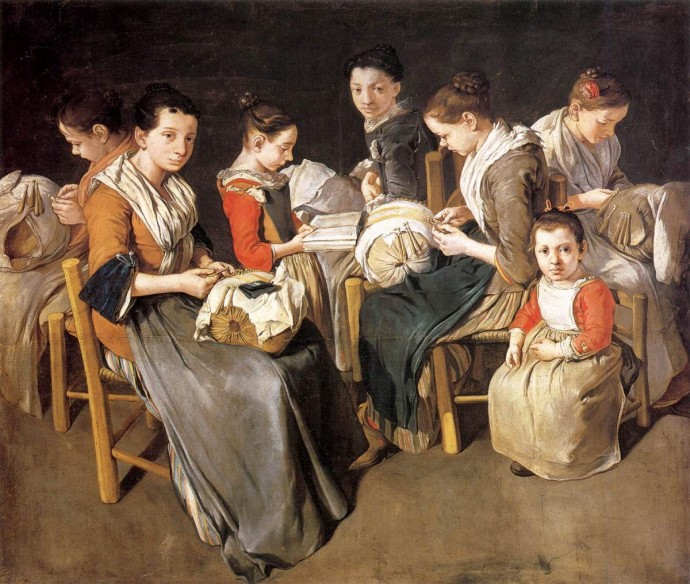 Siftingthepast_Women Working on Pillow Lace_Giacomo Ceruti_~1720