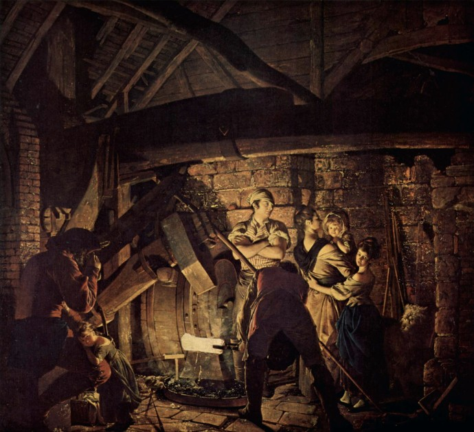 The iron forge by Joseph Wright
