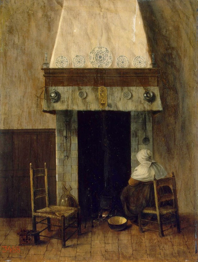 Mid 17th century Painting of a Lady by a fireplace