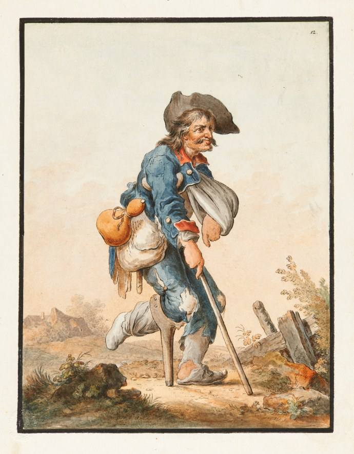 Beggar in soldiers clothing_18th century watercolor image