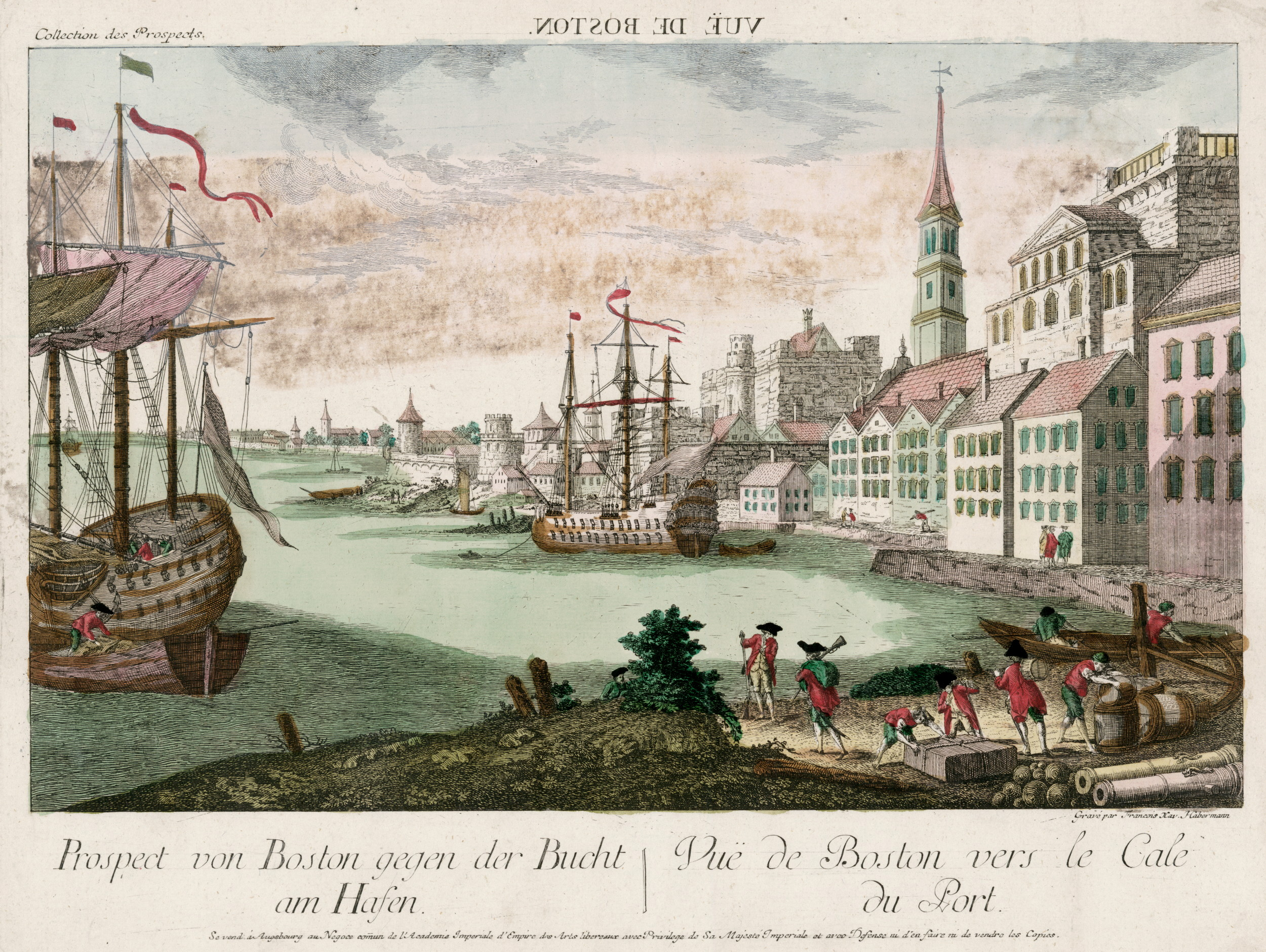 View of boston harbor by franz xaver habermann 1770 the for Wine and paint boston