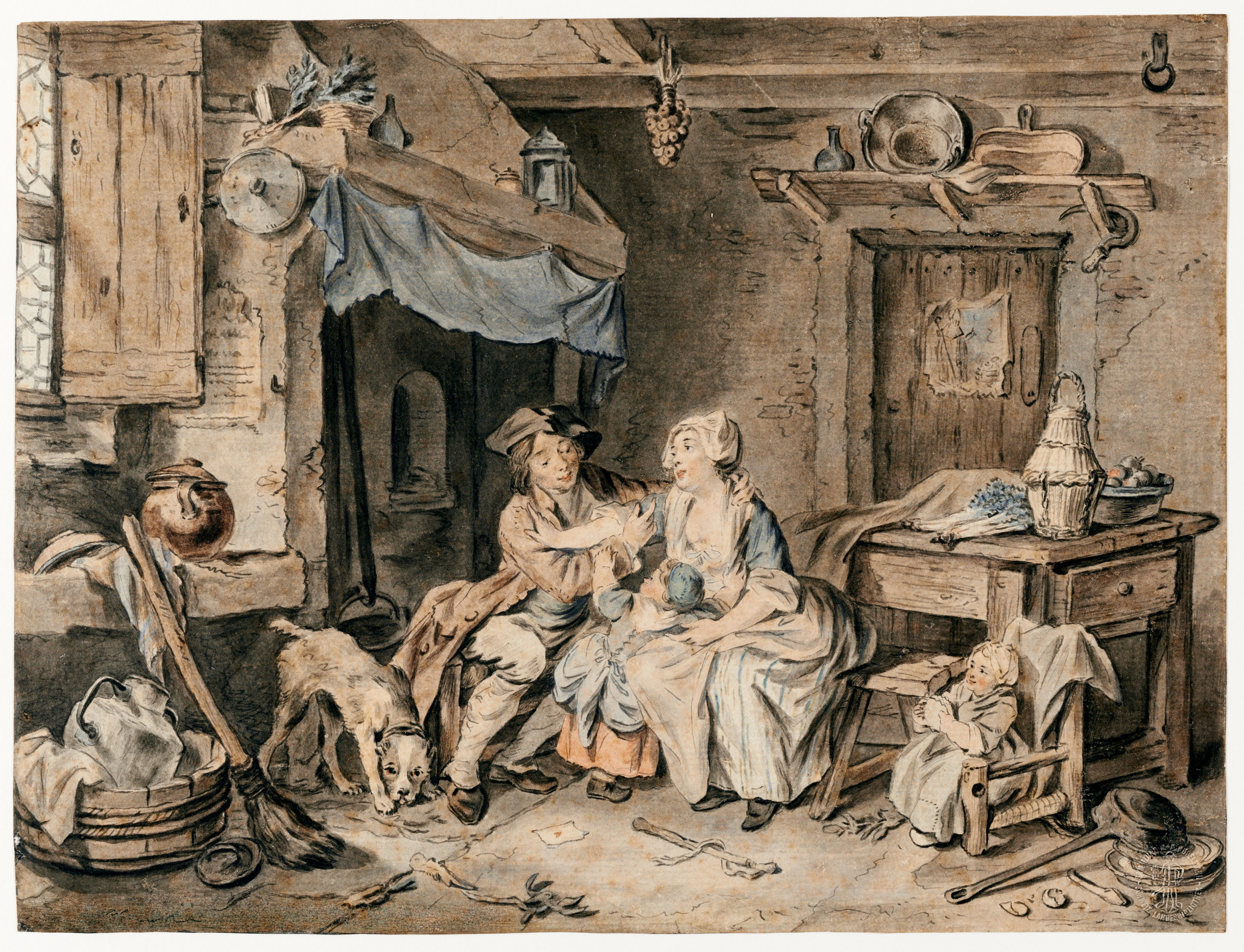 Young Couple With Two Small Children In A Laundry By